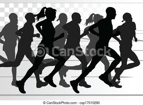 détaillé, femme, illustration, marathon, actif, coureurs, homme - csp17010290