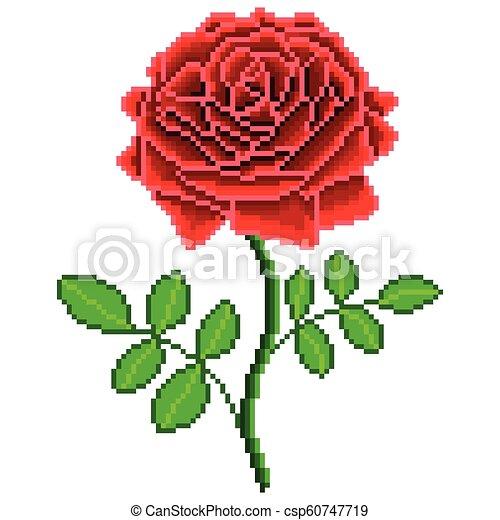 Détaillé Fleur Rose Isolé Vecteur Pixel Rouges