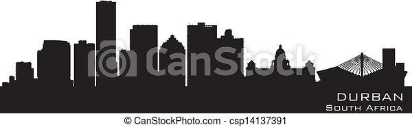 détaillé, silhouette, durban, afrique, horizon, vecteur, sud - csp14137391