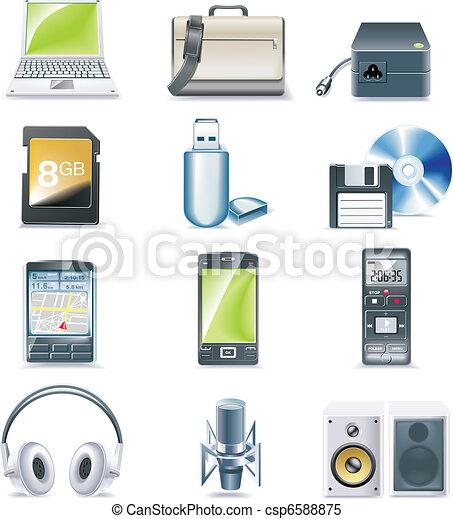 détaillé, vecteur, parties ordinateur, icône - csp6588875