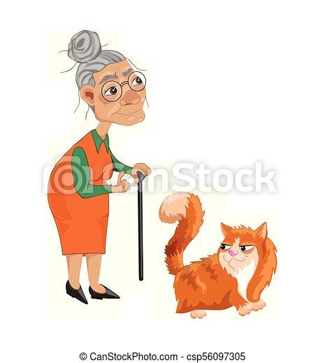 détaillé, vieux, caractère, chat, vector., illustrations, dame, dessin animé - csp56097305