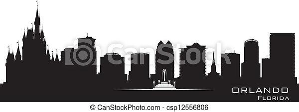 détaillé, ville, silhouette, orlando, floride, skyline. - csp12556806