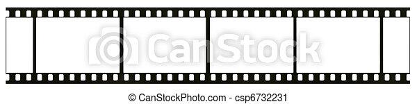 détaillé, vrai, visible, cadre, noir blanc, vide, isolé, négatif, 35mm, fond, grattements, poussière, grain, blanc, hautement, pellicule - csp6732231