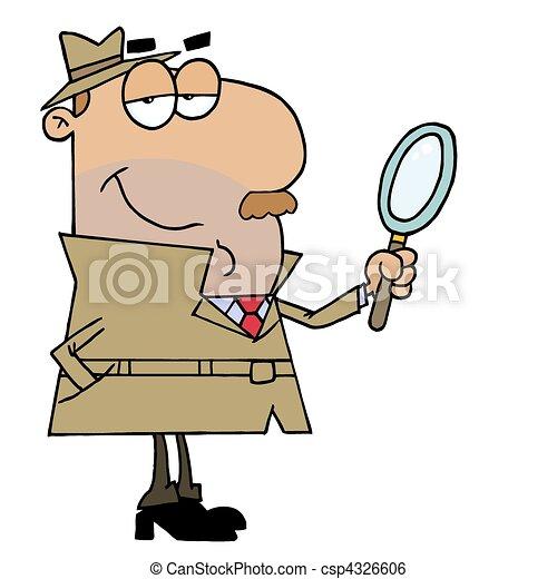 détective, hispanique, dessin animé, homme - csp4326606