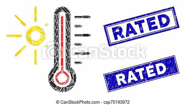 détresse, temps, timbre, cachets, chaud, rectangle, mosaïque - csp75193972