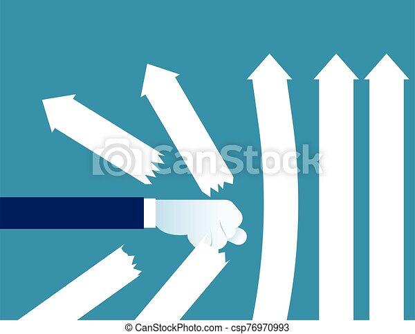 détruire, concept, arrows., illustration., poing, business, vecteur - csp76970993