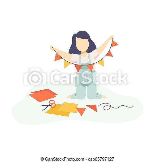 développement, gosses, guirlande, coloré, pennants, illustration, education, vecteur, créativité, confection, girl - csp65797127