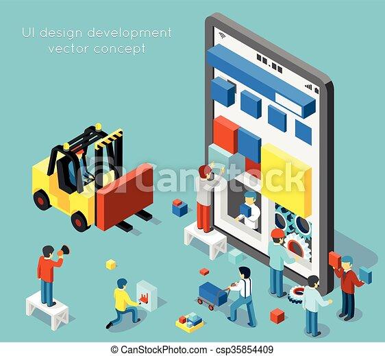 développement, plat, isométrique, concept, style, vecteur, conception, ui, smartphone, 3d - csp35854409