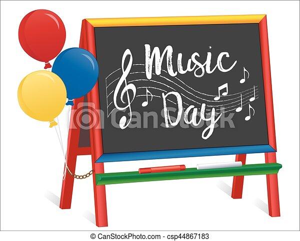 Día de la música, caballete de pizarra para niños - csp44867183