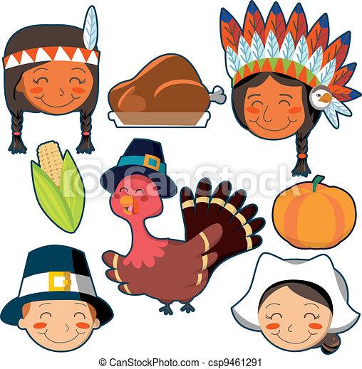 Caras del Día de Acción de Gracias y elementos establecidos - csp9461291