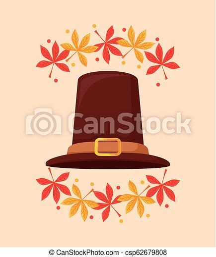Sombrero de Peregrino de Día de Acción de Gracias con hojas - csp62679808