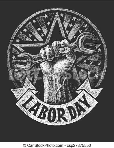 El póster del día del trabajo en la pizarra - csp27375550