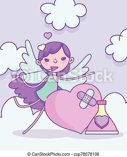 día, valentines, corazón, feliz, botella, amor, cupido, roto - csp78078106