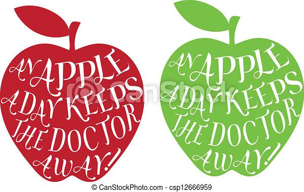 Una manzana al día, vector - csp12666959