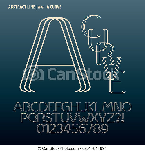 dígito, alfabeto, abstratos, curva, vetorial, linha - csp17814894