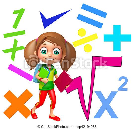 Dígito, niño, niña, matemáticas, señales ilustración de