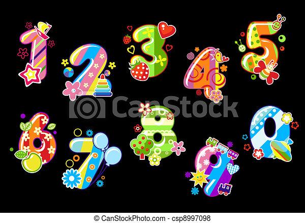 dígitos, crianças, coloridos, números - csp8997098