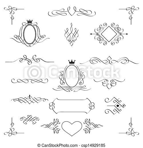 díszlet tervezés, vector., elements., calligraphic - csp14929185