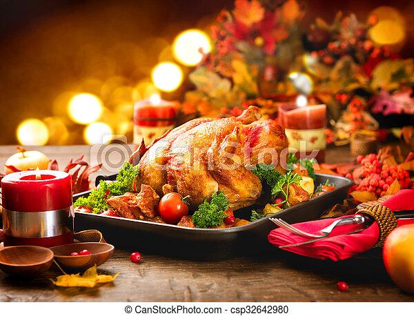 dîner, décoré, servi, clair, feuilles, turquie, table, automne, thanksgiving - csp32642980