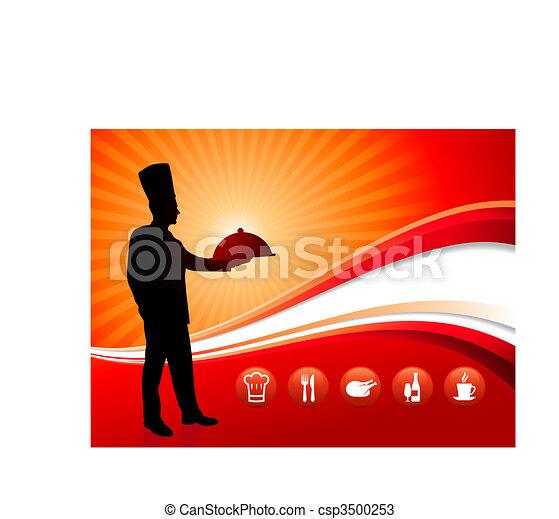 dîner, fond, rouges, chef cuistot - csp3500253