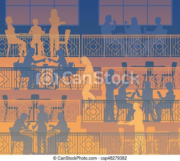 dîner, terrasses - csp48279382