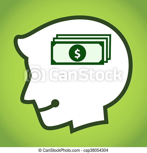 dólar, cabeça, silueta, símbolo, human - csp38054304