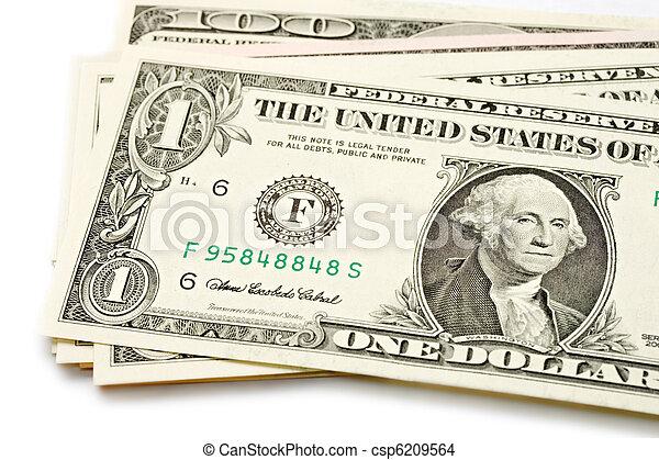 dólares, blanco, aislado - csp6209564
