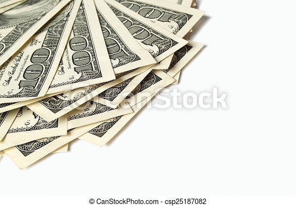 dólares, blanco, aislado - csp25187082