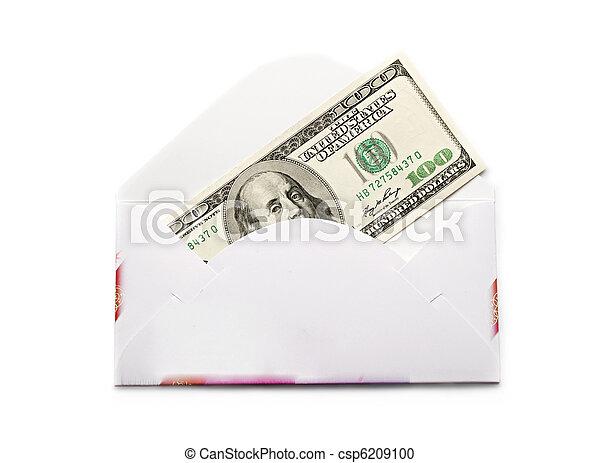 dólares, sobre blanco, aislado - csp6209100