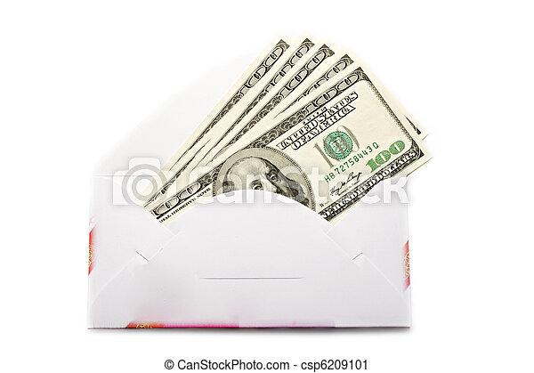 dólares, sobre blanco, aislado - csp6209101