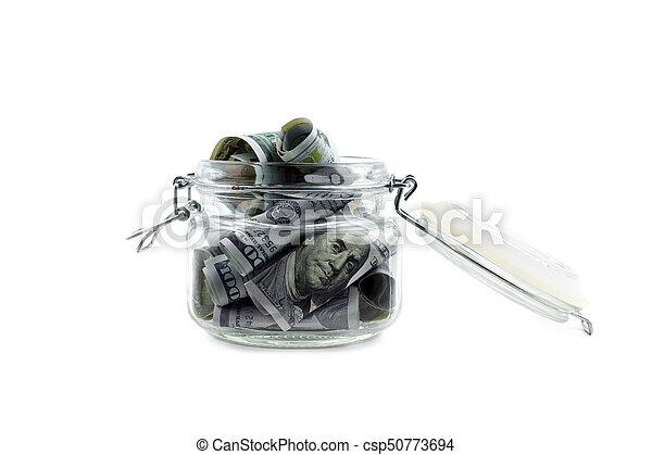 Dinero americano en un frasco de vidrio aislado - csp50773694