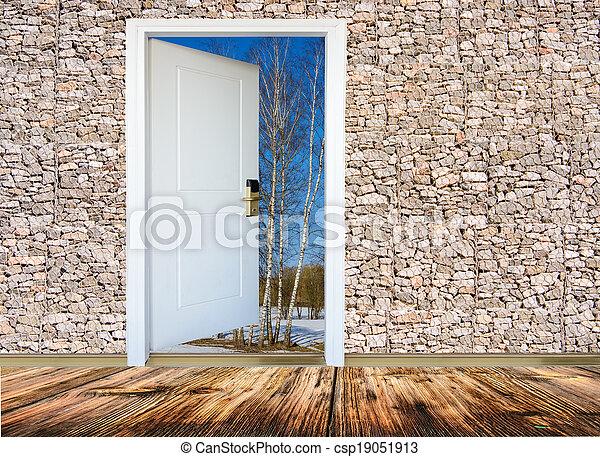 dörr, äng, solsken, lysande, grön, synhåll, öppna, upplyst - csp19051913