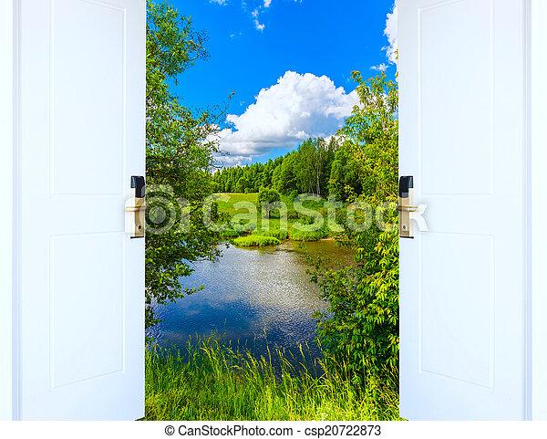 dörr, äng, solsken, lysande, grön, synhåll, öppna, upplyst - csp20722873