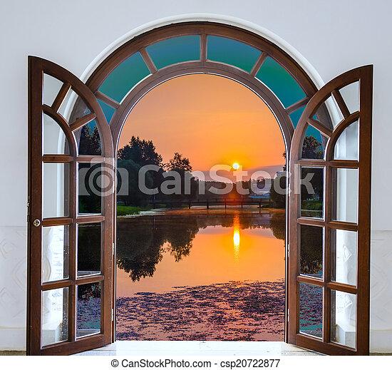 dörr, äng, solsken, lysande, grön, synhåll, öppna, upplyst - csp20722877
