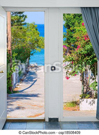 dörr, äng, solsken, lysande, grön, synhåll, öppna, upplyst - csp18508409