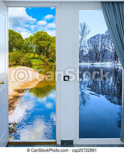 dörr, äng, solsken, lysande, grön, synhåll, öppna, upplyst - csp20722881
