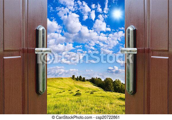 dörr, äng, solsken, lysande, grön, synhåll, öppna, upplyst - csp20722861