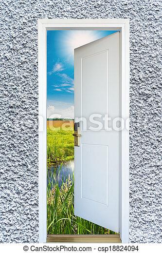 dörr, äng, solsken, lysande, grön, synhåll, öppna, upplyst - csp18824094