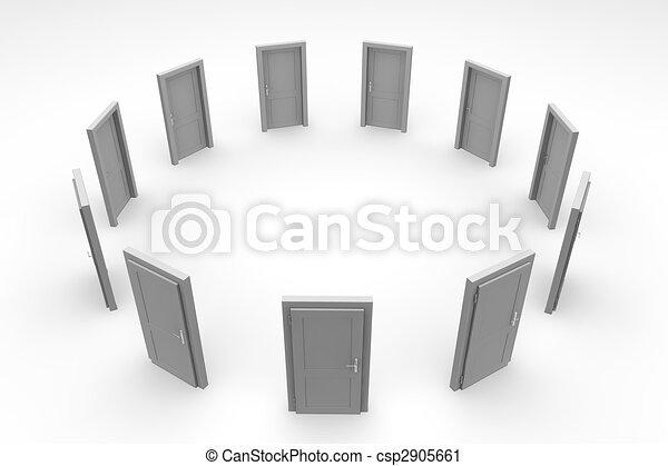 dörr, cirkel, -, grå, stängd - csp2905661