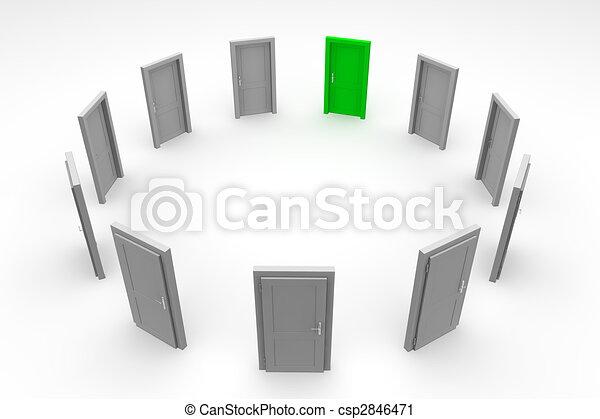 dörr, cirkel, -, grön, stängd - csp2846471