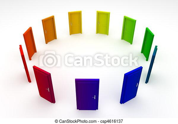 dörr, dörrar, -, 1, stängd, cirkel, färgglatt - csp4616137