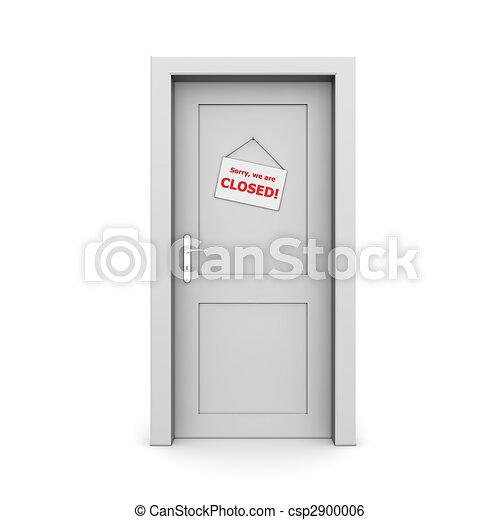 dörr, grå, stängd skylt - csp2900006