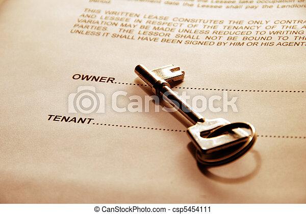 dörr, hyra, överenskommelse, nyckel - csp5454111