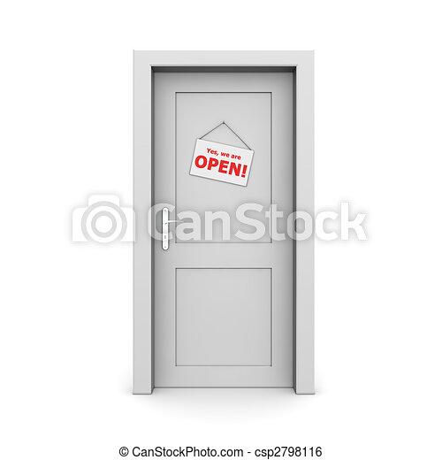 dörr, stängd skylt, grå - csp2798116