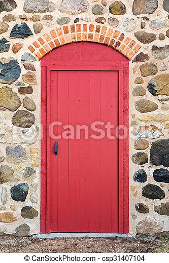 dörr, sten, välvd, röd, lysande, vägg - csp31407104