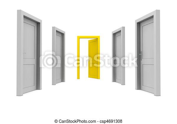 dörr, ta, gul - csp4691308
