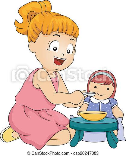 děvče, hraní, panenka - csp20247083