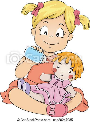 děvče, krmení, ji, panenka - csp20247085