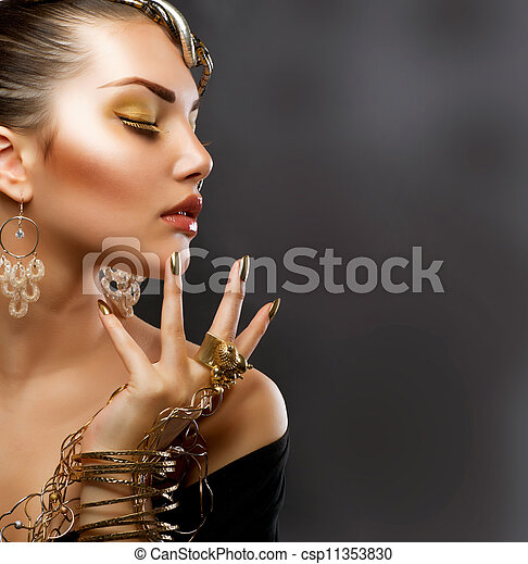 děvče, móda, makeup., zlatý, portrét - csp11353830