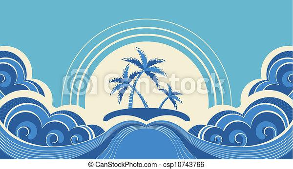 dłonie, wyspa, abstrakcyjny, ilustracja, tropikalny, wektor, morze, waves. - csp10743766